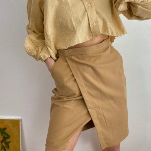 Vintage Oat Front Fold Pencil Skirt